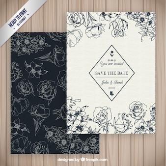 Convite floral retro do casamento