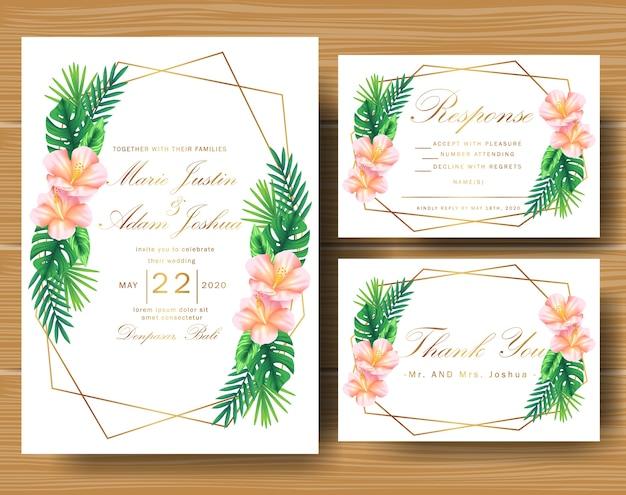 Convite floral tropical de casamento