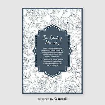 Convite fúnebre elegante com estilo floral