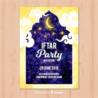 Convite iftar aquarela