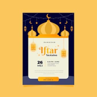 Convite iftar de design plano