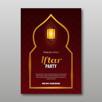 Convite iftar de design realista
