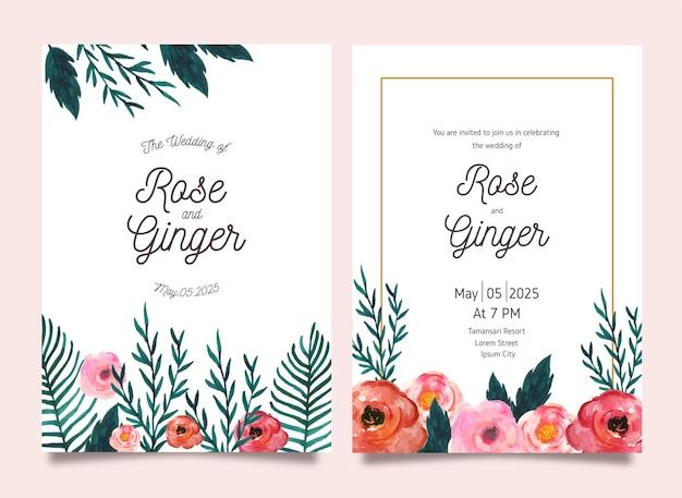 Convite lindo cartão de casamento de flores em aquarela