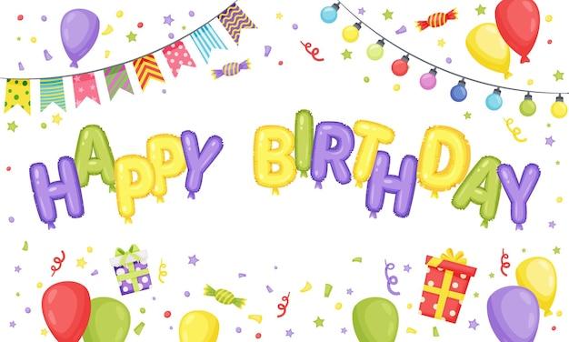 Convite modelo de cartão de celebração de banner de feliz aniversário com caixa de presente de letras de balão Vetor Premium