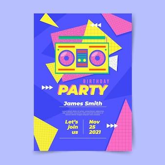 Convite nostálgico de aniversário dos anos 90