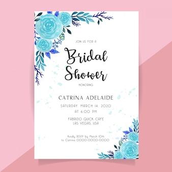 Convite nupcial do chuveiro com a aguarela da flor da rosa do azul