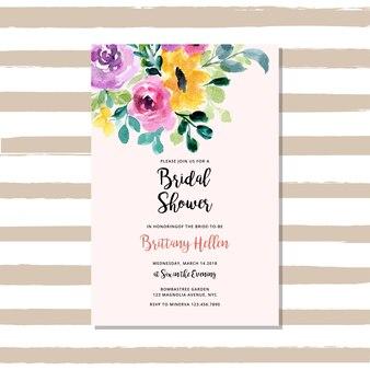 Convite nupcial do chuveiro com aguarela floral
