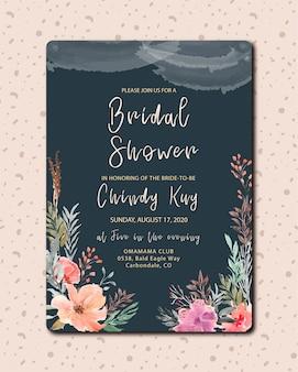 Convite nupcial do chuveiro com flor bonita da aguarela