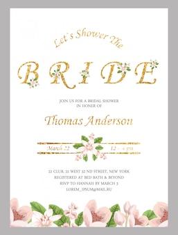 Convite nupcial do chuveiro com fundo da flor da aguarela