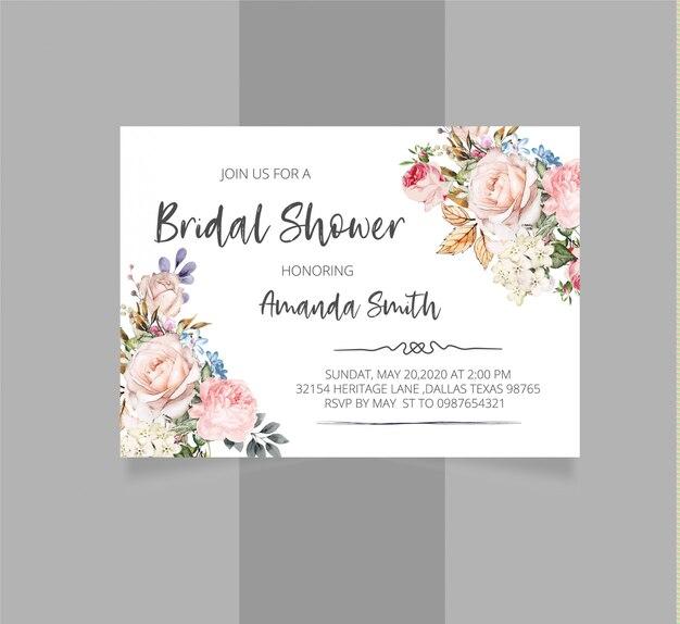 Convite nupcial floral rústico do chuveiro
