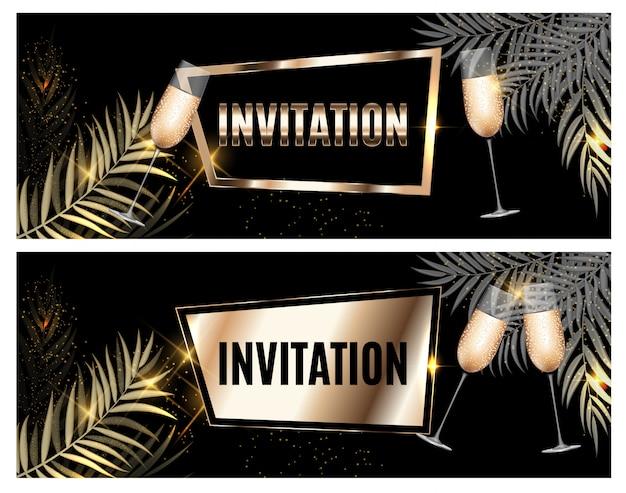 Convite ornamentado dourado de luxo vintage com folha de palmeira e copos de champanhe