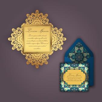 Convite ou cartão de casamento com ornamento floral vintage