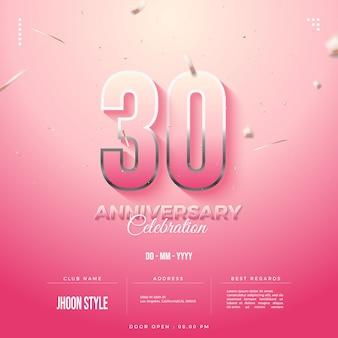 Convite para a celebração do 30º aniversário com números bordados de prata