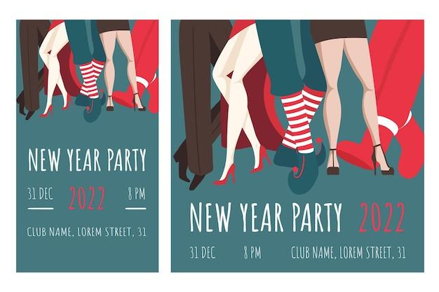 Convite para a festa de máscaras de ano novo grupo de dançarinos fantasiados