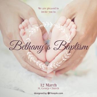 Convite para batismo, estilo elegante