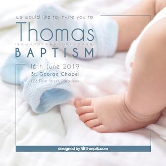 Convite para batismo, estilo simples