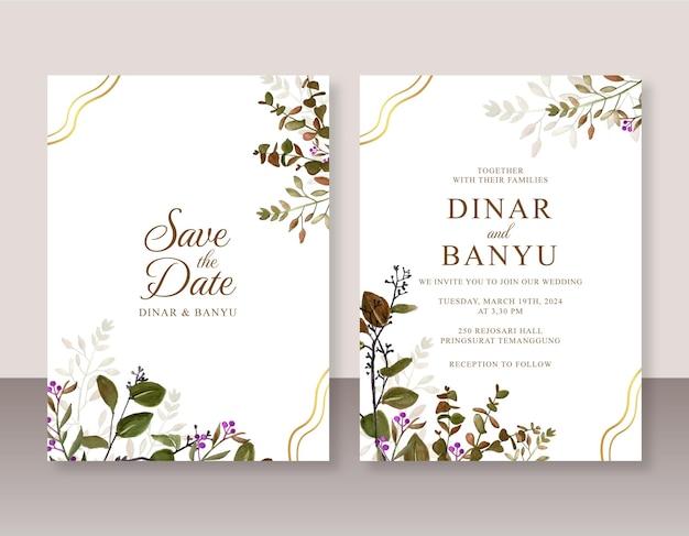 Convite para cartão de casamento com folhas em aquarela