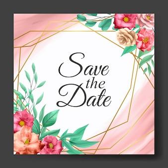 Convite para cartão de moldura de casamento com rosa rosa