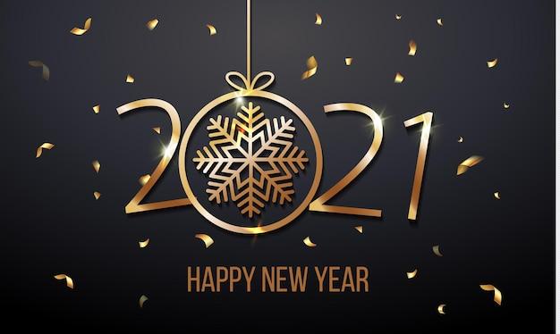 Convite para cartão de saudação de luxo com feliz ano novo 2021 com confete de brilho dourado do floco de neve