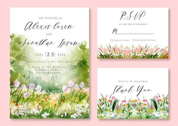 Convite para casamento em aquarela paisagem floral verde campo tulipa