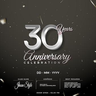 Convite para celebração do 30º aniversário com números de prata limpos