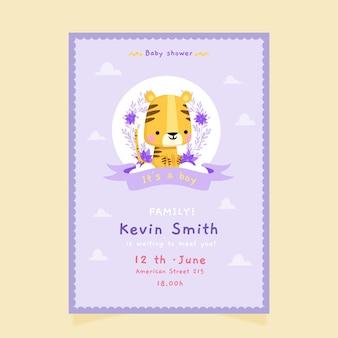 Convite para chá de bebê chuva de amor desenho animado