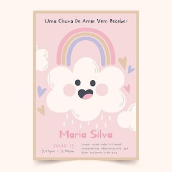 Convite para chá de bebê de chuva de amor desenhado à mão