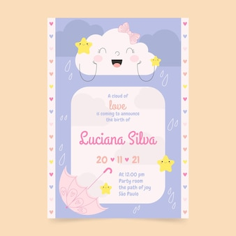 Convite para chá de bebê orgânico chuva de amor