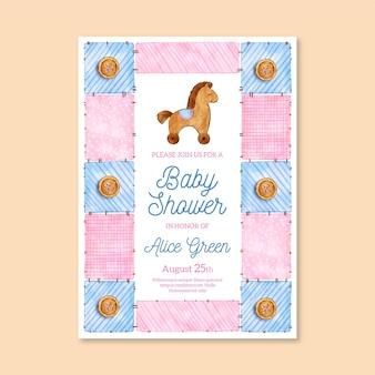 Convite para chá de bebê pintado à mão