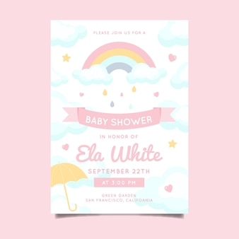 Convite para chá de bebê plano chuva de amor
