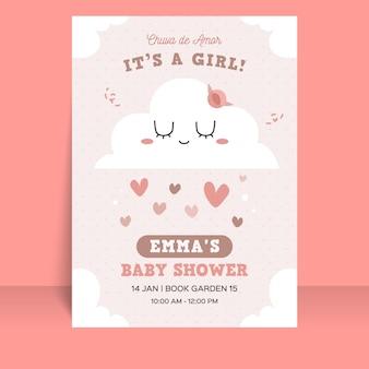 Convite para chá de bebê plano chuva de amor Vetor grátis