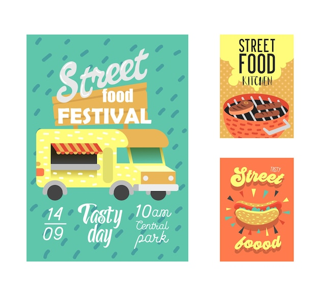 Convite para evento ao ar livre fastfood