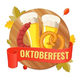 Convite para festa com cerveja, tábua de madeira, linguiça frita e pretzel.
