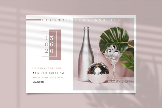 Convite para festa com conceito de foto