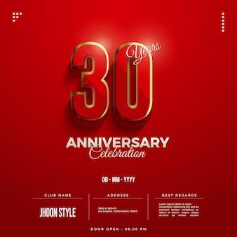 Convite para festa de 30 anos com algarismos dourados