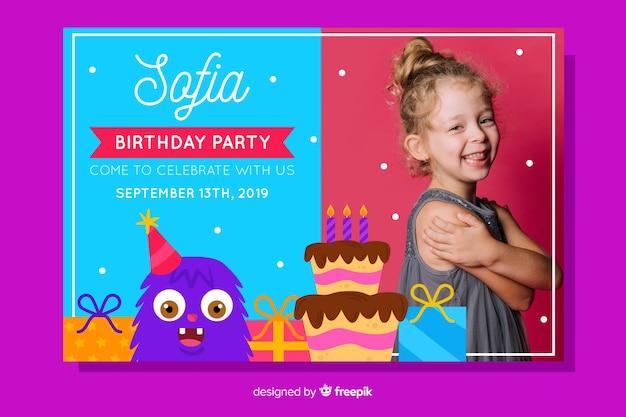 Convite para festa de aniversário com design de foto