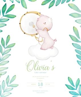 Convite para festa de aniversário de bebê porco com ilustração em aquarela