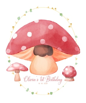 Convite para festa de aniversário de cogumelo de bebê com ilustração em aquarela