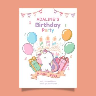 Convite para festa de aniversário de unicórnio desenhado à mão