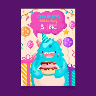 Convite para festa de aniversário infantil com monstro bonito