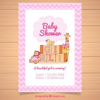 Convite para festa de bebê com brinquedos