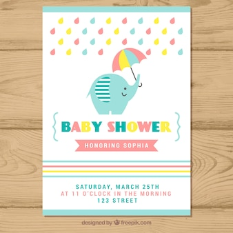Convite para festa de bebê com elefante em estilo plano