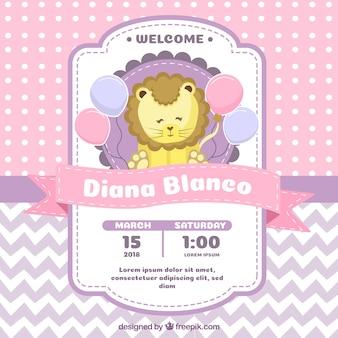 Convite para festa de bebê com leão em estilo plano