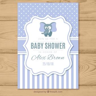 Convite para festa de bebê com padrão em estilo plano
