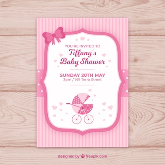 Convite para festa de bebê em estilo plano