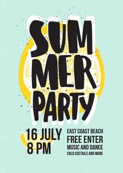 Convite para festa de dança de verão ou modelo de cartaz com letras