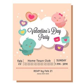 Convite para festa de dia dos namorados com casal de pássaro do amor