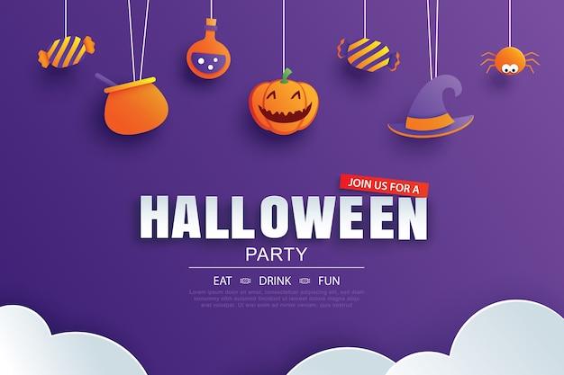 Convite para festa de halloween com design de elementos de arte em papel.