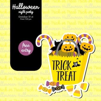 Convite para festa de halloween com doces ou travessuras balde de doces