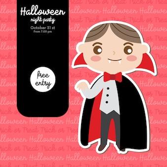 Convite para festa de halloween com menino em traje de drácula